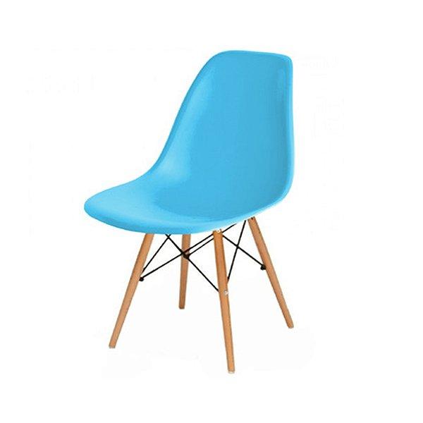 Cadeira Design Fratini Eames Eiffel DAR Ray Pes Madeira Natural Salas Florida New Blue Assento Polipropileno