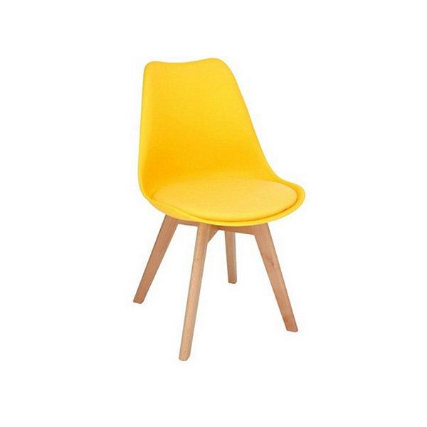 Cadeira Design Fratini Eames Eiffel DAR Ray Pes Madeira Natural Salas Siena Amarela Assento Couro