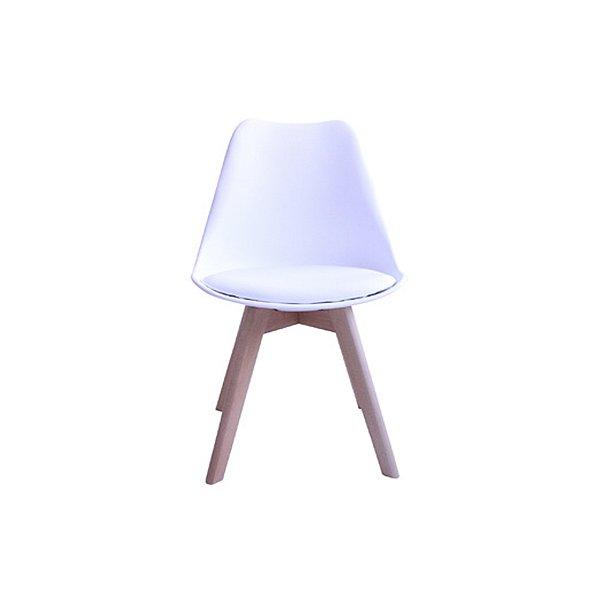 Cadeira Design Fratini Eames Eiffel DAR Ray Pes Madeira Natural Salas Siena Branco Assento Couro