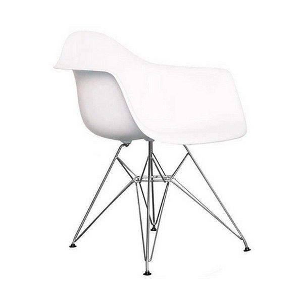 Cadeira Design Fratini Eames Eiffel DAR Ray Pes Metal Salas Florida Branca Braços Polipropileno