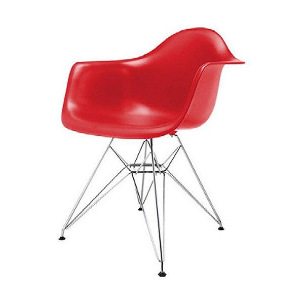 Cadeira Design Fratini Eames Eiffel DAR Ray Pes Metal Salas Florida Vermelha Braços Polipropileno