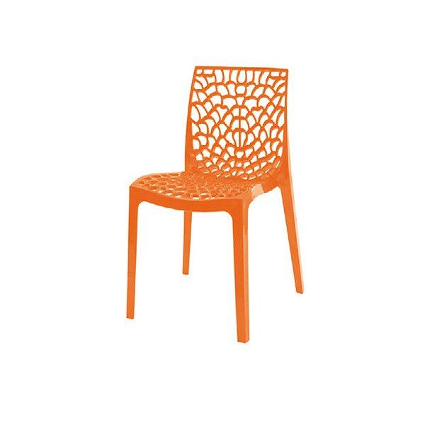 Cadeira Design Fratini Gruvier Laranja Ambiente Externo e Interna Cozinhas Salas Restaurantes