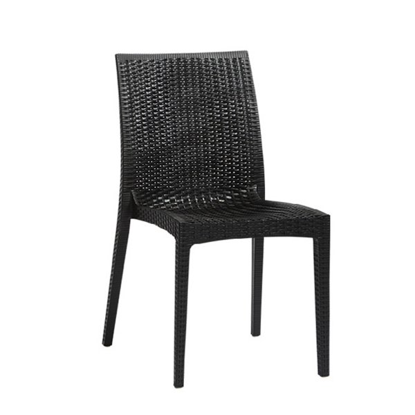 Cadeira Design Vime Fratini Ibiza Preta Ambiente Externo e Interna Tramas tipo Rattan Cozinhas Varandas Salas