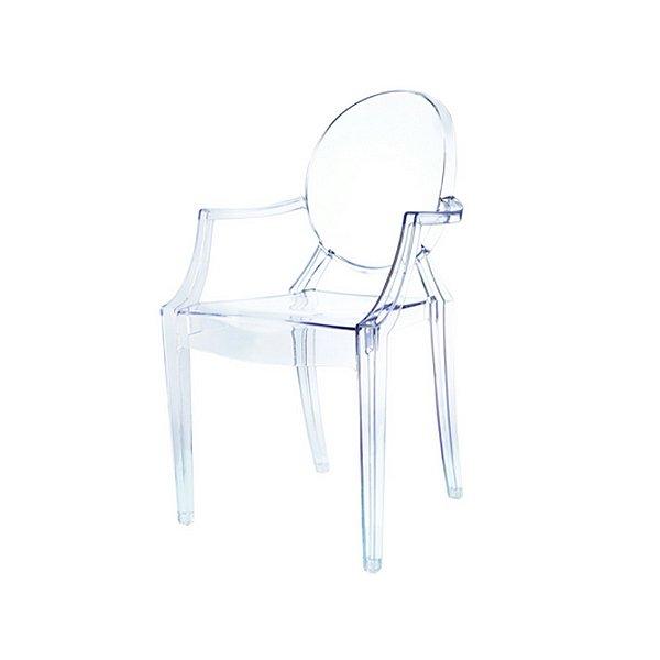 Cadeira Design Fratini Louis Ghost Transparente Incolor Com Braços Moderna Cozinhas Salas Jantar Versalhes