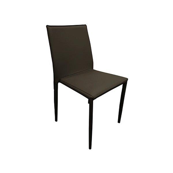 Cadeira Design Fratini Quadrada Marrom Assento Estofado Tecido Couro Moderna Cozinhas Salas Zurique