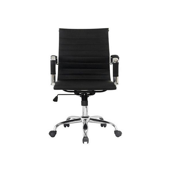 Cadeira Escritorio Fratini Office Rodizio Eames Manhattan Preto Cromado Giratoria Diretor Com Braços