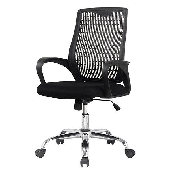 Cadeira Escritorio Fratini Office Rodizio Singapura Preto Eames Cromado Giratoria Presidente Com Braços