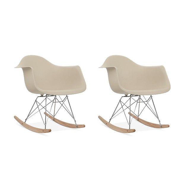 Kit 2x Cadeira Balanço Design Eames Eiffel DAR Ray Salas Florida Fendi Braços Polipropileno Fratini
