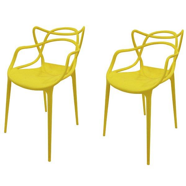 Kit 2x Cadeira Design Alegra Master Philippe Starck Amarela Polipropileno Cozinhas Aviv Fratini