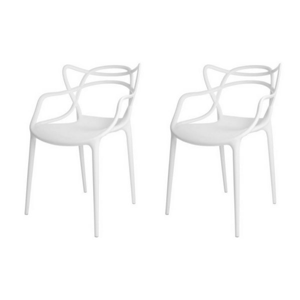 Kit 2x Cadeira Design Alegra Master Philippe Starck Branca Polipropileno Cozinhas Aviv Fratini
