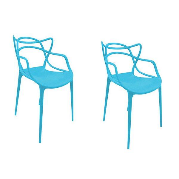 Kit 2x Cadeira Design Alegra Master Philippe Starck New Blue Polipropileno Cozinhas Aviv Fratini