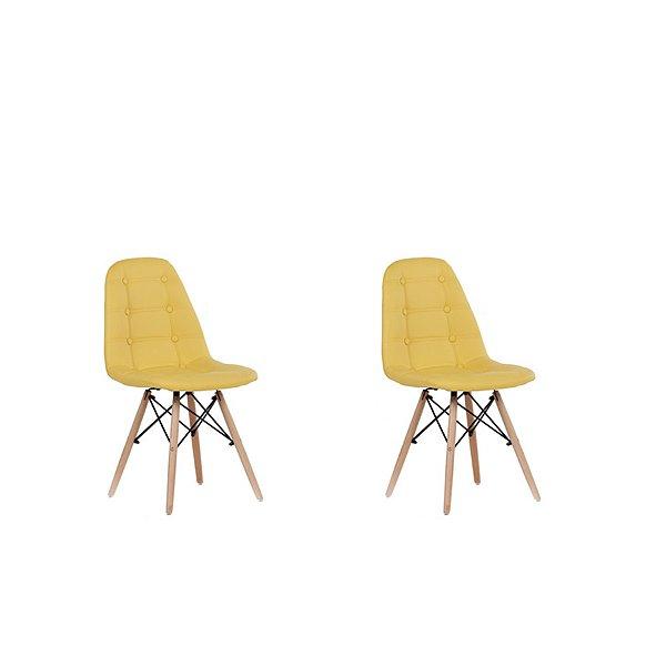 Kit 2x Cadeira Design Botone Eames Eiffel DAR Ray Pes Madeira Salas Madrid Amarelo  Fratini