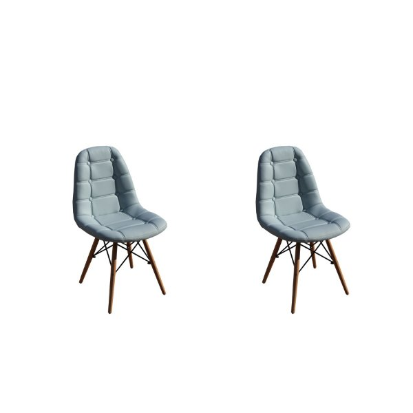 Kit 2x Cadeira Design Botone Eames Eiffel DAR Ray Pes Madeira Salas Madrid Azul Claro  Fratini