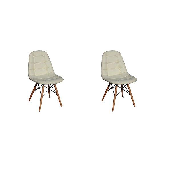 Kit 2x Cadeira Design Botone Eames Eiffel DAR Ray Pes Madeira Salas Madrid Bege  Fratini