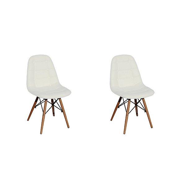 Kit 2x Cadeira Design Botone Eames Eiffel DAR Ray Pes Madeira Salas Madrid Branco  Fratini