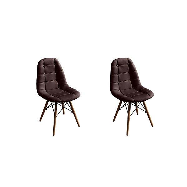 Kit 2x Cadeira Design Botone Eames Eiffel DAR Ray Pes Madeira Salas Madrid Marrom Café  Fratini