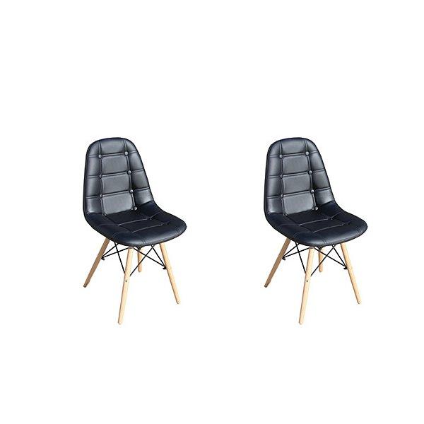 Kit 2x Cadeira Design Botone Eames Eiffel DAR Ray Pes Madeira Salas Madrid Preto  Fratini