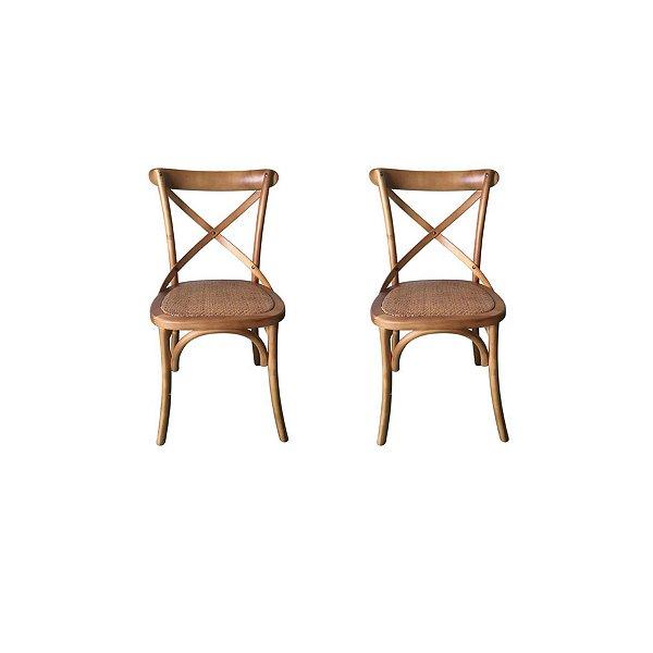 Kit 2x Cadeira Design Cross Katrina Madeira Bétula Restaurantes Salas Bares Paris Fratini