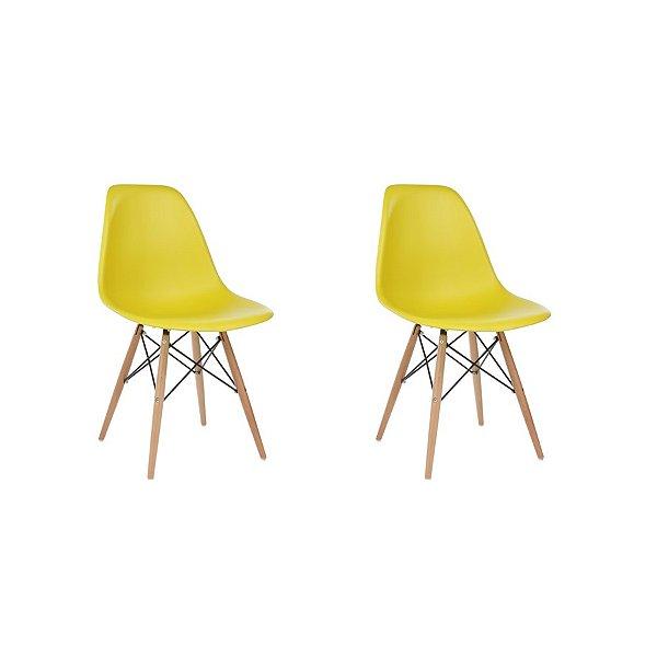 Kit 2x Cadeira Design Eames Eiffel DAR Ray Pes Madeira Salas Florida Amarela Assento Polipropileno Fratini