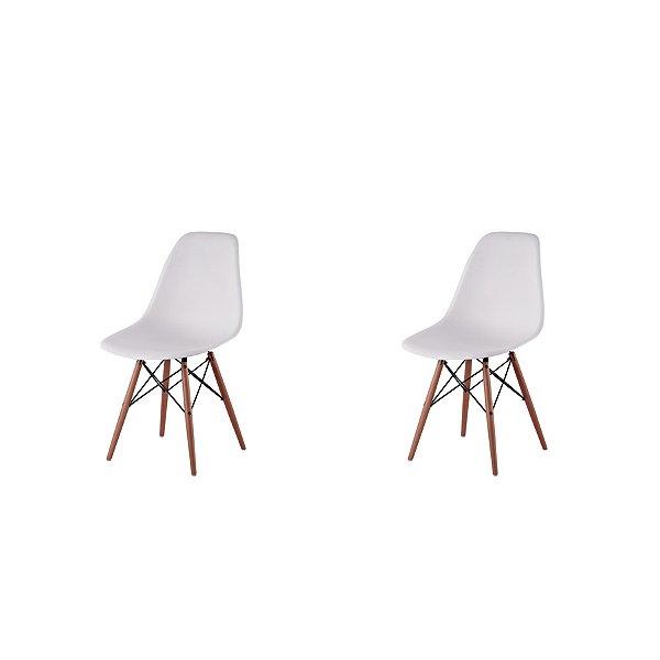Kit 2x Cadeira Design Eames Eiffel DAR Ray Pes Madeira Salas Florida Branca Assento Polipropileno Fratini