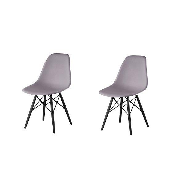 Kit 2x Cadeira Design Eames Eiffel DAR Ray Pes Madeira Salas Florida Cinza Assento Polipropileno Fratini