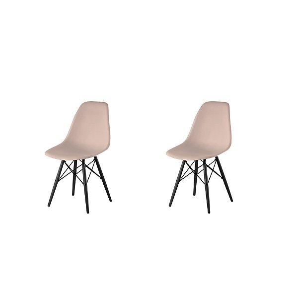 Kit 2x Cadeira Design Eames Eiffel DAR Ray Pes Madeira Salas Florida Fendi Assento Polipropileno Fratini