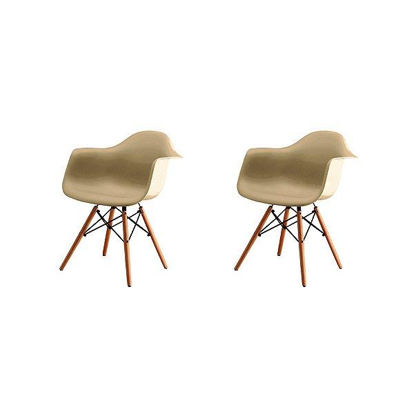 Kit 2x Cadeira Design Eames Eiffel DAR Ray Pes Madeira Salas Florida Fendi Braços Polipropileno Fratini
