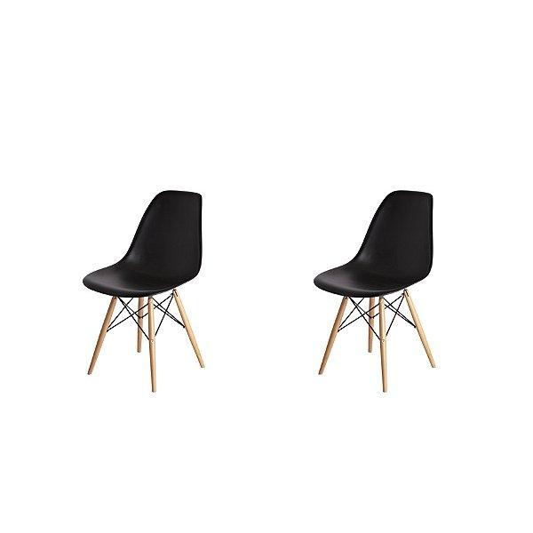 Kit 2x Cadeira Design Eames Eiffel DAR Ray Pes Madeira Salas Florida Preta Assento Polipropileno Fratini