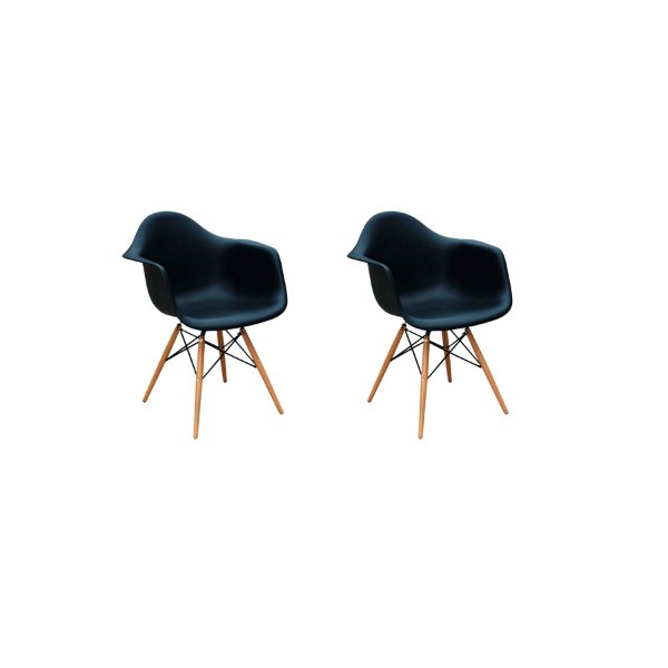 Kit 2x Cadeira Design Eames Eiffel DAR Ray Pes Madeira Salas Florida Preto Braços Polipropileno Fratini