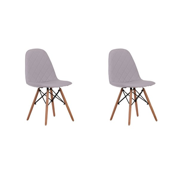 Kit 2x Cadeira Design Eames Eiffel DAR Ray Pes Madeira Salas Gelo Assento Couro Nice Fratini