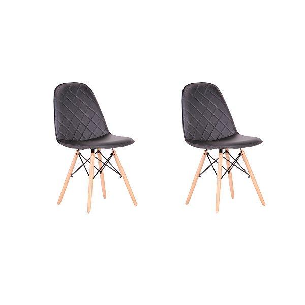 Kit 2x Cadeira Design Eames Eiffel DAR Ray Pes Madeira Salas Preto Assento Couro Nice Fratini