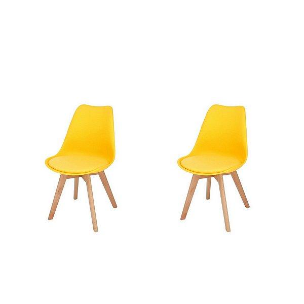 Kit 2x Cadeira Design Eames Eiffel DAR Ray Pes Madeira Salas Siena Amarela Assento Couro Fratini