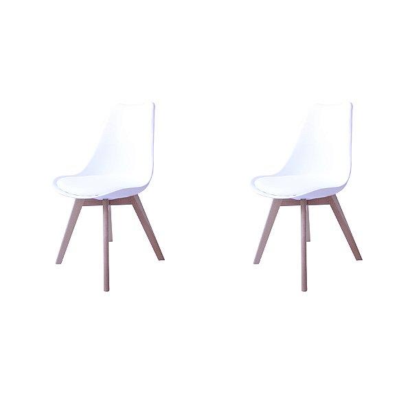 Kit 2x Cadeira Design Eames Eiffel DAR Ray Pes Madeira Salas Siena Branco Assento Couro Fratini