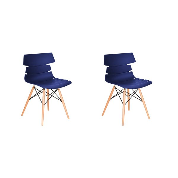 Kit 2x Cadeira Design Eames Eiffel DAR Ray Pes Madeira Salas Valencia Azul Marinho Assento Polipropileno Fratini