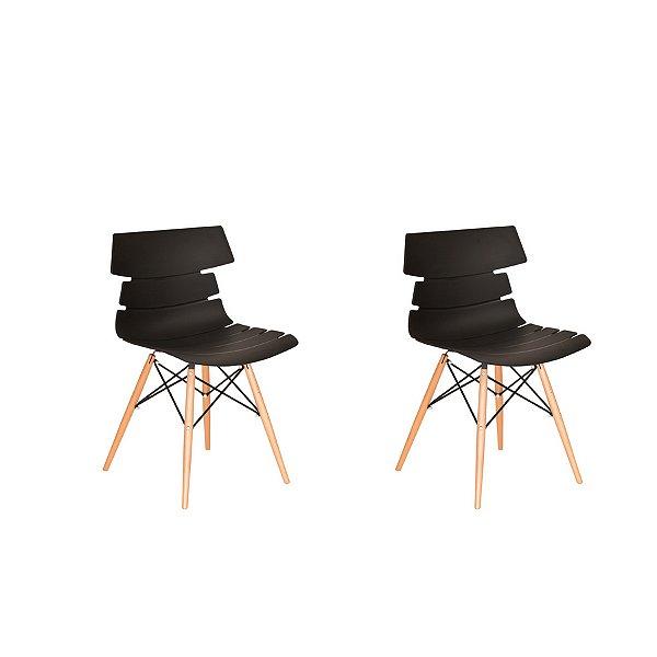 Kit 2x Cadeira Design Eames Eiffel DAR Ray Pes Madeira Salas Valencia Preto Assento Polipropileno Fratini