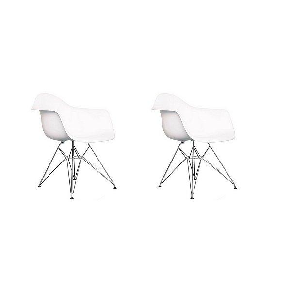 Kit 2x Cadeira Design Eames Eiffel DAR Ray Pes Metal Salas Florida Branca Braços Polipropileno Fratini