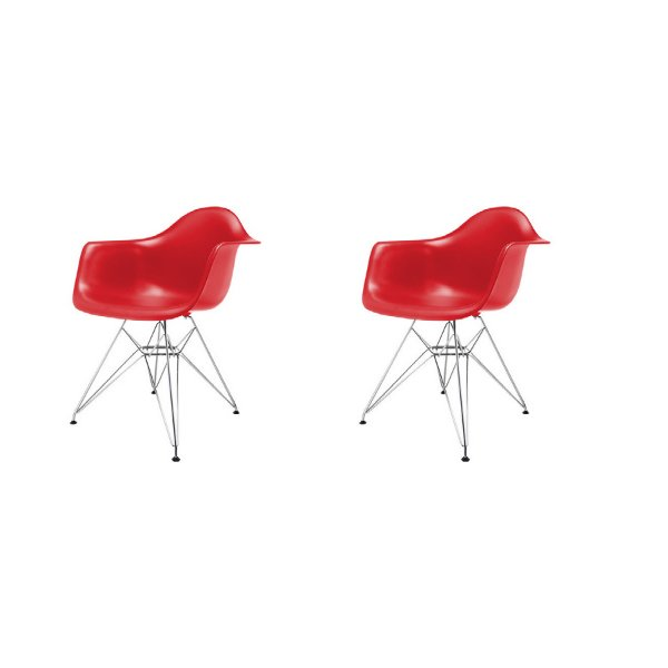 Kit 2x Cadeira Design Eames Eiffel DAR Ray Pes Metal Salas Florida Vermelha Braços Polipropileno Fratini