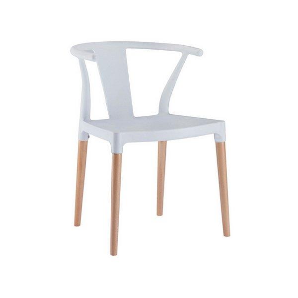 Kit 2x Cadeira Design Eiffel Eames Madeira Base Assento Polipropileno Redondo Bares Restaurantes Branca Amsterdam Fratini