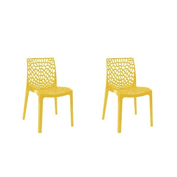 Kit 2x Cadeira Design Gruvier Amarelo Externa e Interna Cozinhas Salas Restaurantes Fratini