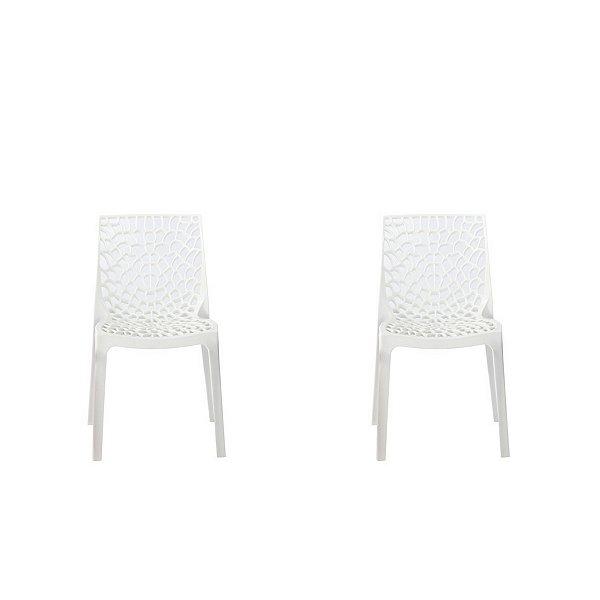 Kit 2x Cadeira Design Gruvier Branca Externa e Interna Cozinhas Salas Restaurantes Fratini