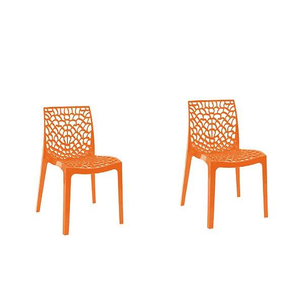 Kit 2x Cadeira Design Gruvier Laranja Externa e Interna Cozinhas Salas Restaurantes Fratini