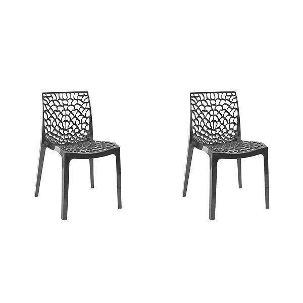 Kit 2x Cadeira Design Gruvier Preto Externa e Interna Cozinhas Salas Restaurantes Fratini