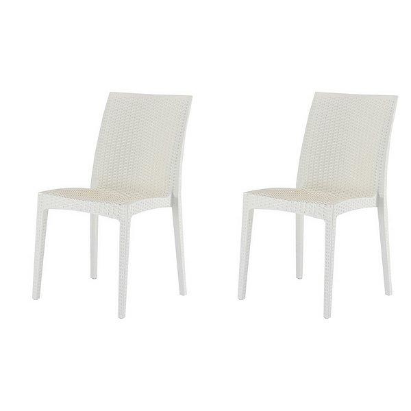 Kit 2x Cadeira Design Vime  Ibiza Marfim Externa e Interna Cozinhas Tramas tipo Rattan Varandas Salas Fratini