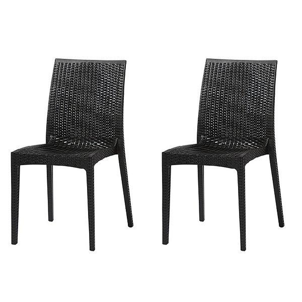 Kit 2x Cadeira Design Ibiza Preta Externa e Interna Tramas tipo Rattan  Cozinhas Varandas Salas Fratini