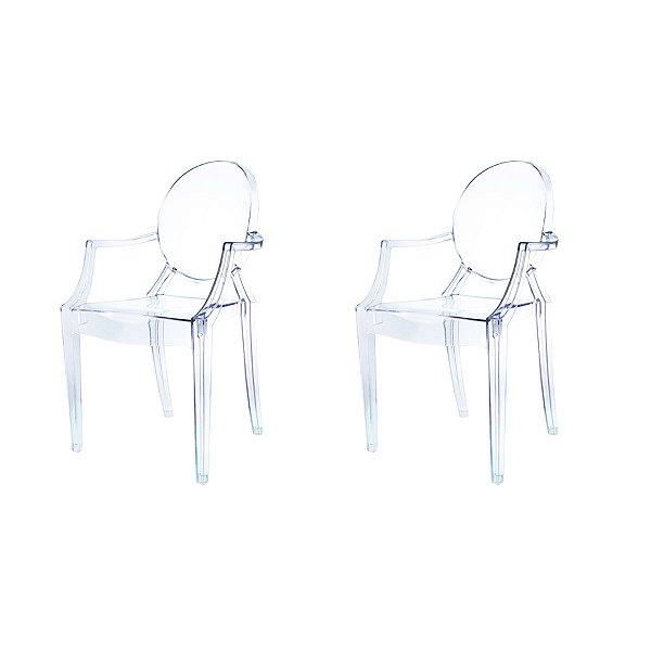 Kit 2x Cadeira Design Louis Ghost Transparente Incolor Com Braços Moderna Cozinhas Salas Jantar Versalhes Fratini