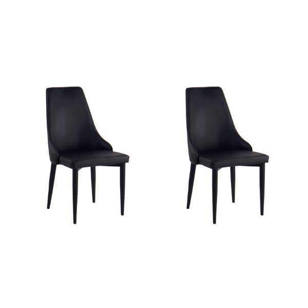 Kit 2x Cadeira Design Preto Aço Estofada Couro Moderna Cozinhas Salas Quebec Fratini