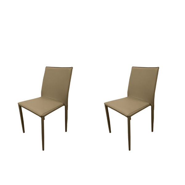 Kit 2x Cadeira Design Quadrada Fendi Assento Estofado Tecido Couro Moderna Cozinhas Salas Zurique Fratini