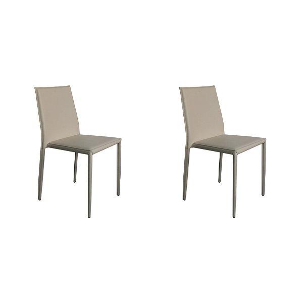 Kit 2x Cadeira Design Quadrada Gelo Assento Estofado Tecido Couro Moderna Cozinhas Salas Zurique Fratini
