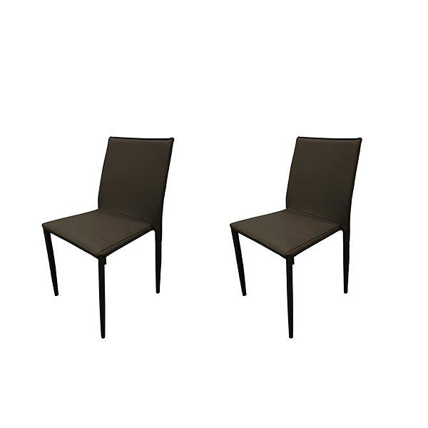 Kit 2x Cadeira Design Quadrada Marrom Assento Estofado Tecido Couro Moderna Cozinhas Salas Zurique Fratini