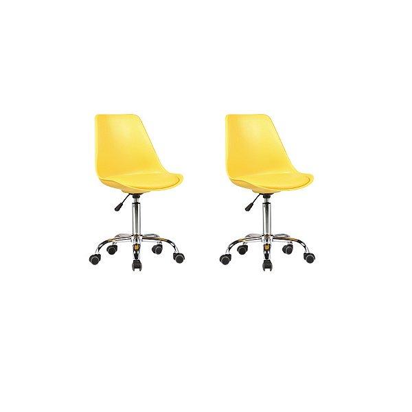 Kit 2x Cadeira Design Saarinen Office Eames Eiffel Rodizio Amarela Quartos Chicago Fratini